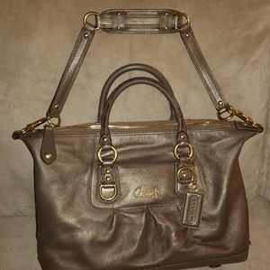 Coach bag with handles and strap